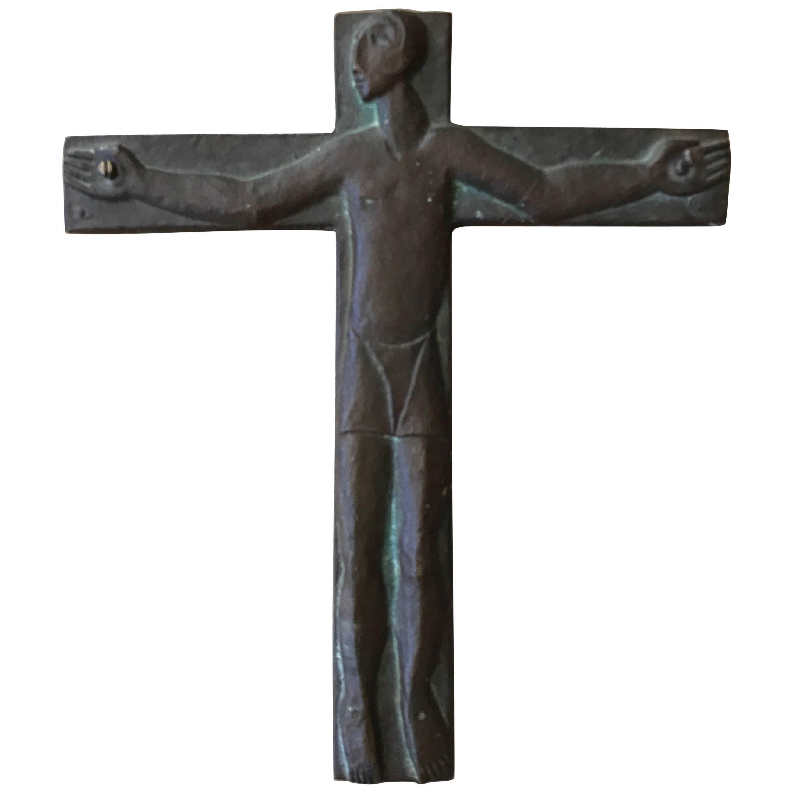 Midcentury Brutalist Steel Crucifix Cross
