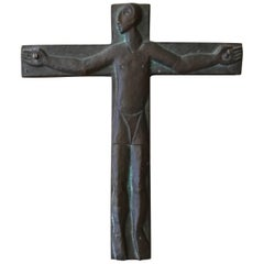 Midcentury Brutalist Steel Crucifix Cross