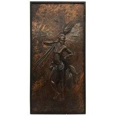 Kongolo, African Art, Relief in Brass, 1979
