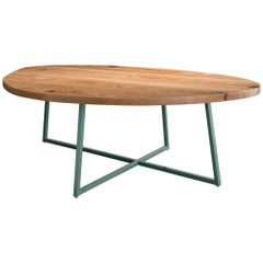 Noguchoff Coffee Table, Green Powder Coated Steel, Reclaimed Heart Pine