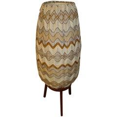 Mid-Century Modern Teak Floor Lamp with Fabric Shade