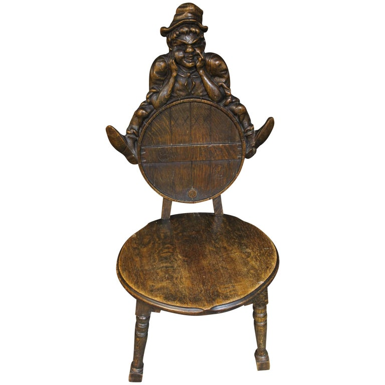 Wood Carved Leprechaun or Imp Shea Bocqueraz Advertising Promotional Chair  For Sale