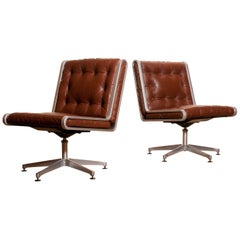 1970s, Pair of Leather and Aluminium Swivel Chairs