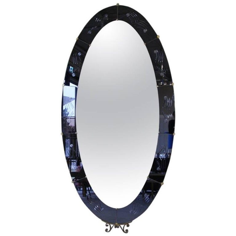 Cristal Art Large Oval Mirror, Italy, 1950s
