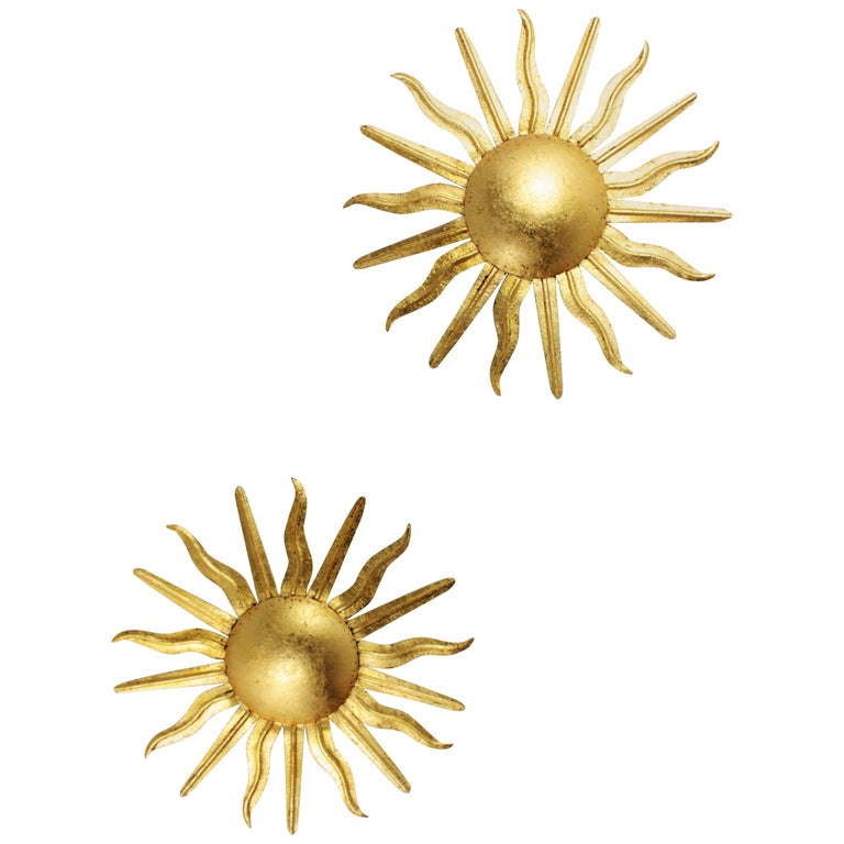 Pair of Spanish 1950s Gilt Iron Sunburst Flush Mount Pendants or Ceiling Lights