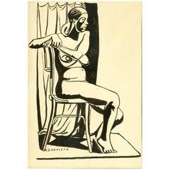 """Seated Nude"", Rafael Zabaleta 'Quesada, Jaén, 1907, Ibídem, 1960'"