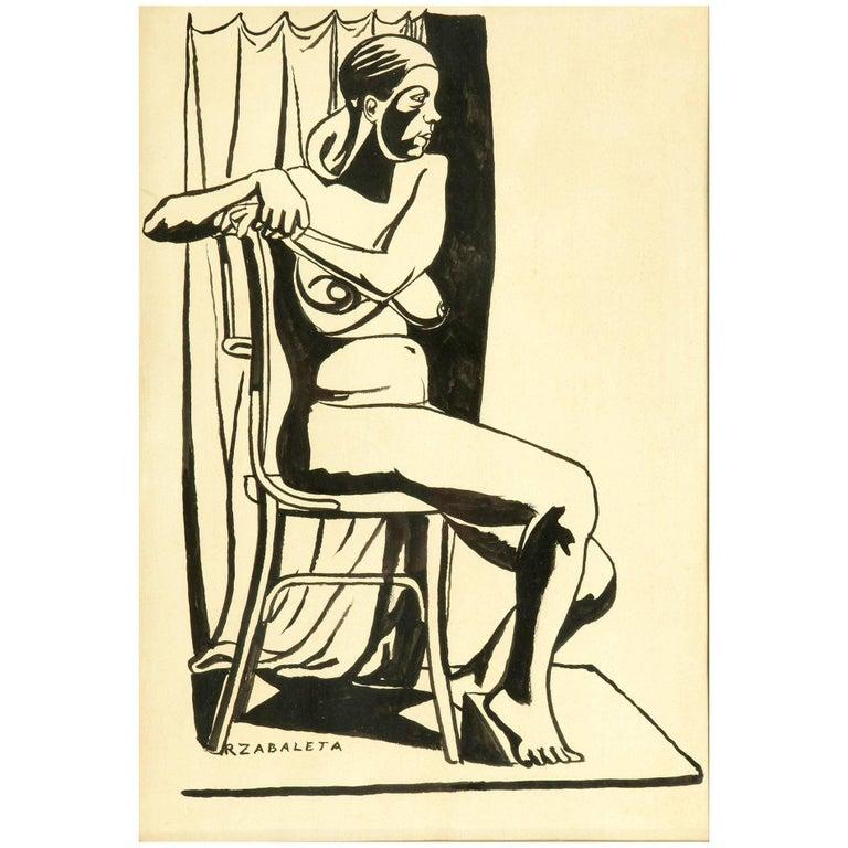 """""""Seated Nude"""", Rafael Zabaleta 'Quesada, Jaén, 1907, Ibídem, 1960' For Sale"""
