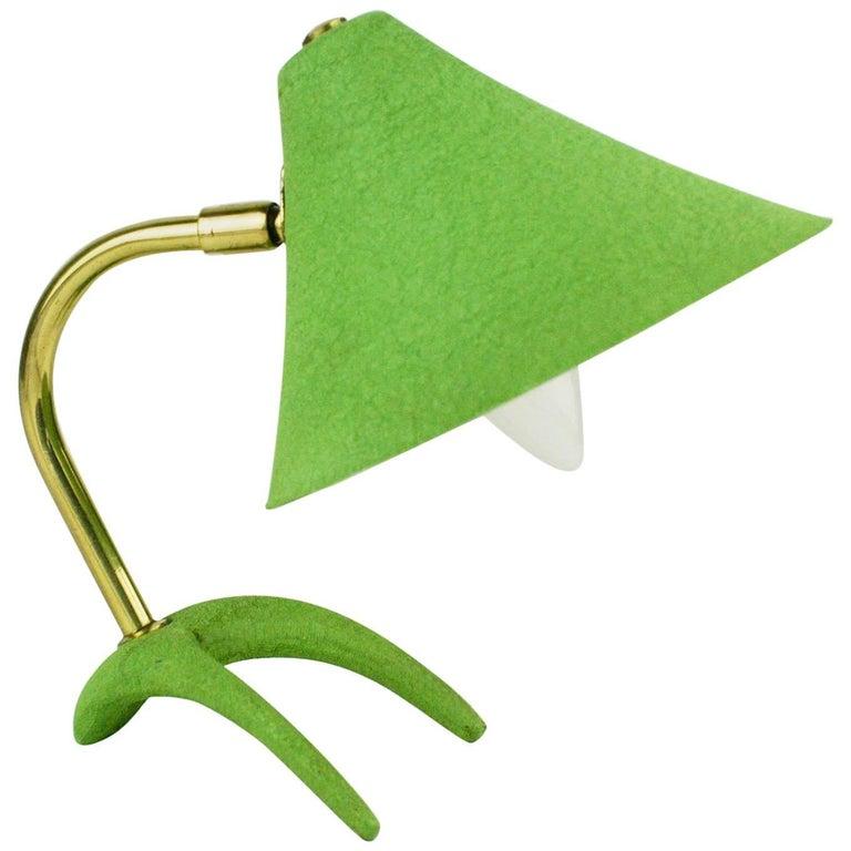 Green Midcentury Brass Table Lamp by Louis Kalff