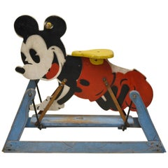 1940s Painted Wooden Tri-Ang Rocking Mickey Mouse Toy Made in England