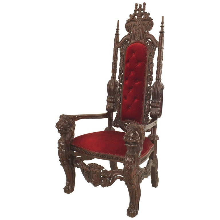 Italian Renaissance Style '20th Century' Mahogany Throne Chair