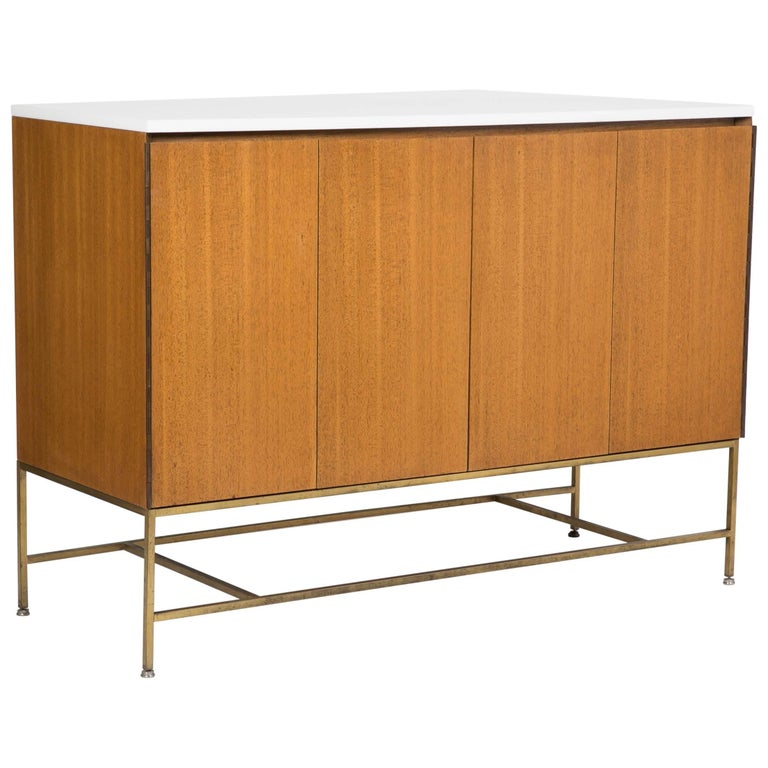Sideboard Designed by Paul McCobb, Tubular Brass Base with Vitrolite Glass Top
