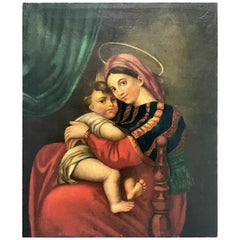 19th Century Italian Madonna of the Chair after Raphael Oil on Canvas Painting