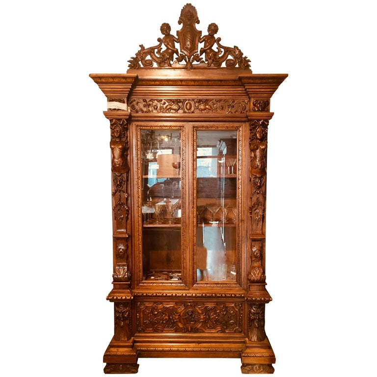 19th Century French Walnut Renaissance Grand Cabinet with Vitrines