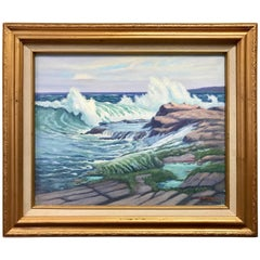 Original Edward Tomasiewicz Prouts Neck Maine Seascape Oil Painting