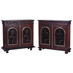 Two Antique Carved Anglo-Indian Cabinets