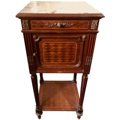19th Century Mahogany Marble-Top Nightstand with Bronze Decoration