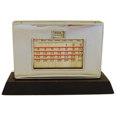 English Art Deco Chrome and Ebonized Wood Perpetual Desk Top Calendar