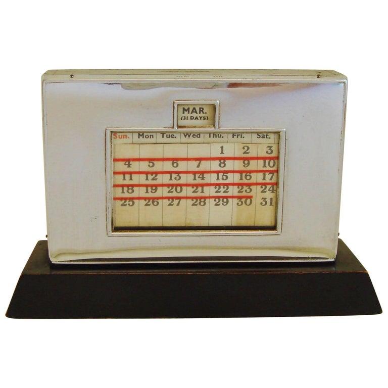 English Art Deco Chrome And Ebonized Wood Perpetual Desk Top Calendar