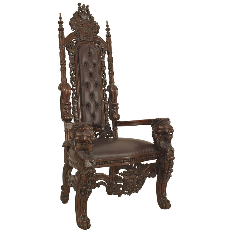 Italian Renaissance Style '20th Century' Mahogany and Leather Throne Chair