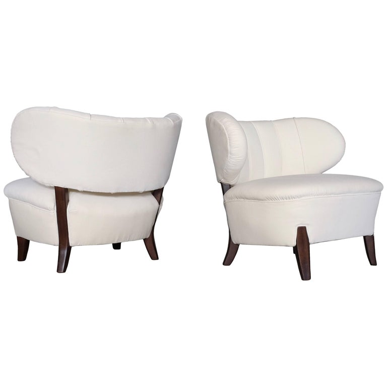 Rare Pair of Otto Schulz Chairs, Sweden, 1930s