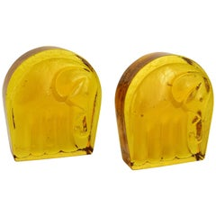Blenko Mid-Century Modern Glass Bookends with Elephant Motif