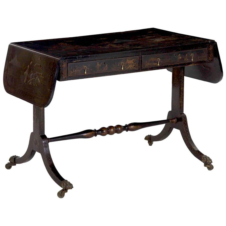 19th Century English Regency Chinoiserie Decorated Sofa Table