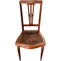 19th Century Mahogany Side Chair with Cane Seat and Bronze Decoration
