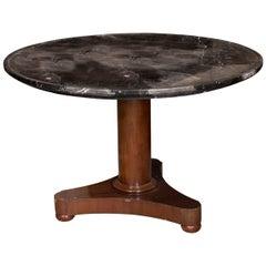 Single Pedestal Table, Marble and Mahogany, 19th Century