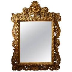Large Italian 18th Century Carved Giltwood Mirror