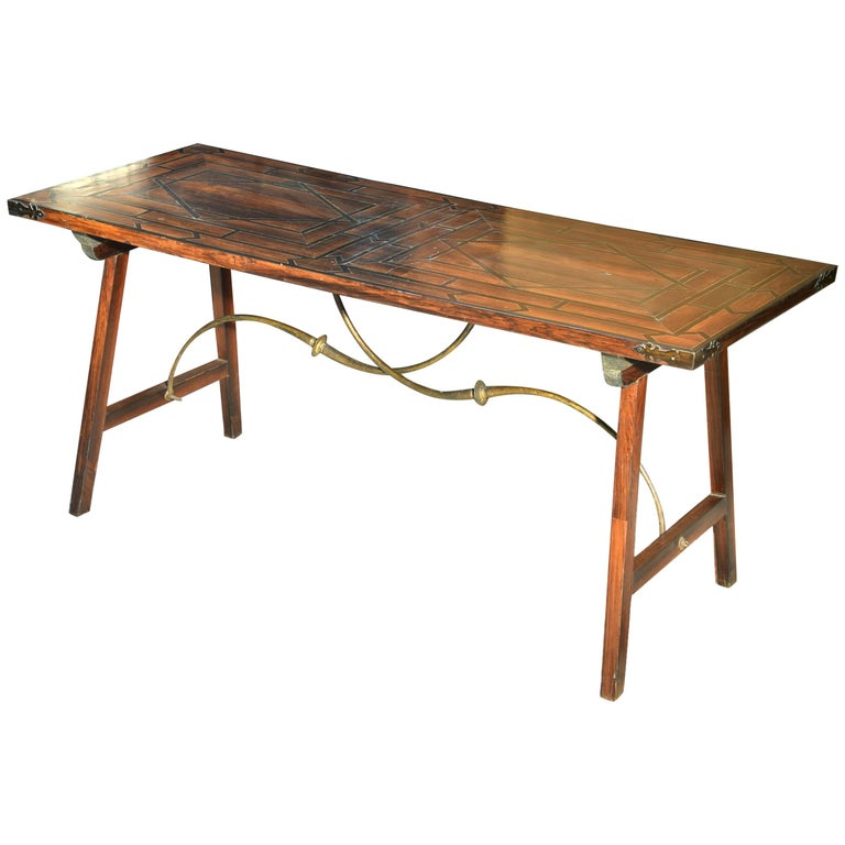Table For Spanish Desk Rosewood Wood Wrought Iron Spain 18th Century