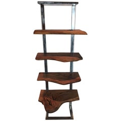 Book Case or Display Stand in Steel and Eucalyptus Wood