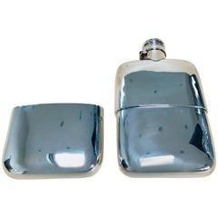 Solid Silver Hall Marked Hip Flask and Cup, 1891