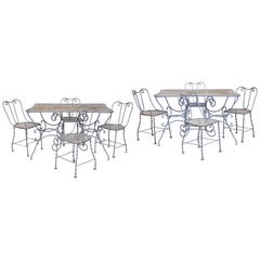 Set of Ten Pieces Outdoor Furniture in Light Grey Wrought Iron Late 19th Century