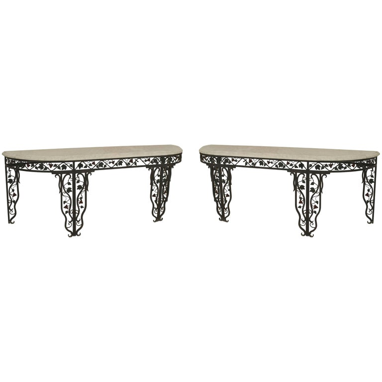 "Pair of French Art Moderne '1940s' Wrought Iron ""D"" Shaped Console Tables"