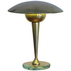 1950s Stilnovo Attributed Mid-Century Modern Brass and Glass Table Lamp