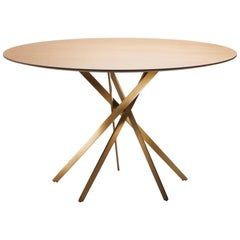 IKI Round Dining Table by Marco Zanuso Jr. with Metal Lacquered and Oak Veneer