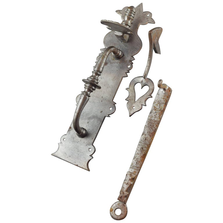Wrought Iron Handle with Bolt, after Baroque Models, 20th Century For Sale