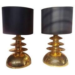 Pair of Gold Ceramic Lamps, circa 1970, Italy