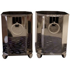 Pair of French Art Deco, circa 1920s Sterling Silver Wine Coolers