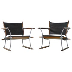 "Jens Quistgaard, Denmark, 1960s Pair of ""Stokke"" Chairs, Original Leather"