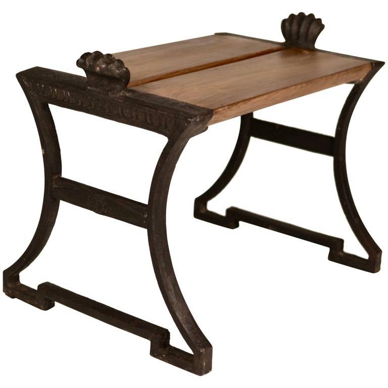 "Folke Bensow, ""Näfvequarn"" Cast Iron and European Oak Bench, 1920s For Sale"