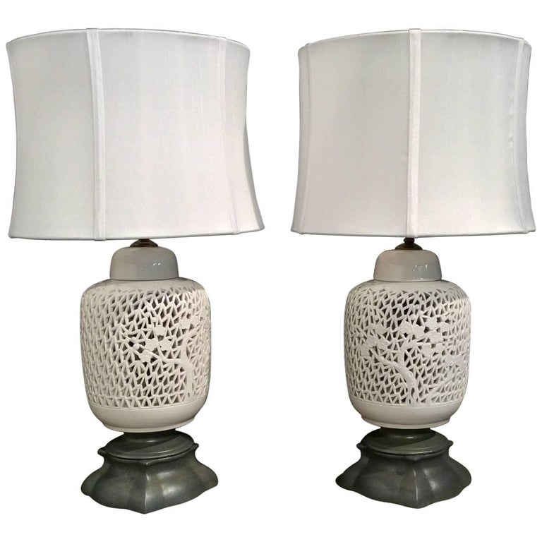White Table Lamps, Midcentury Asian Inspired White Blanc De Chine ...