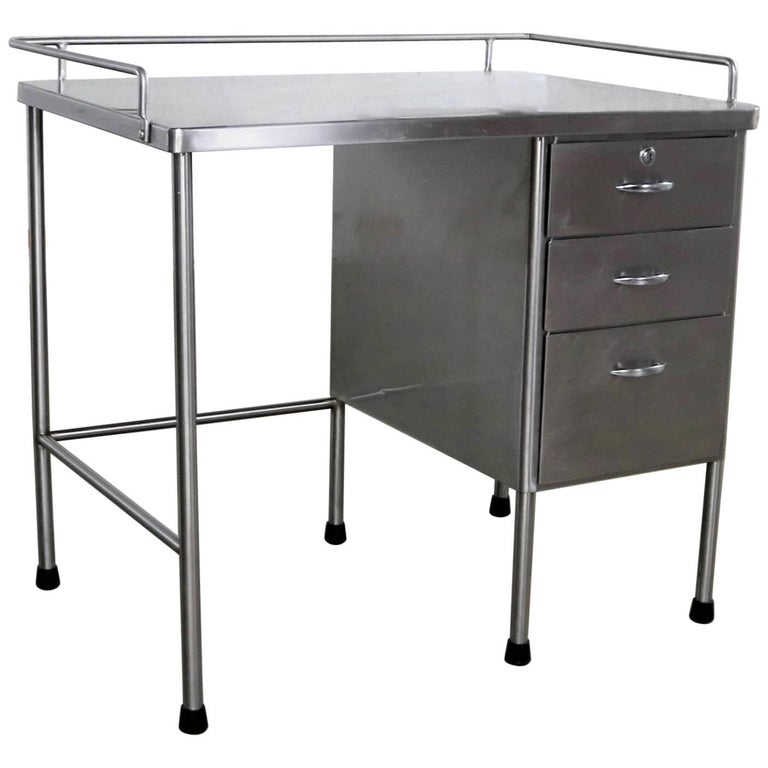 Industrial Stainless-Steel Writing Desk Vintage Medical
