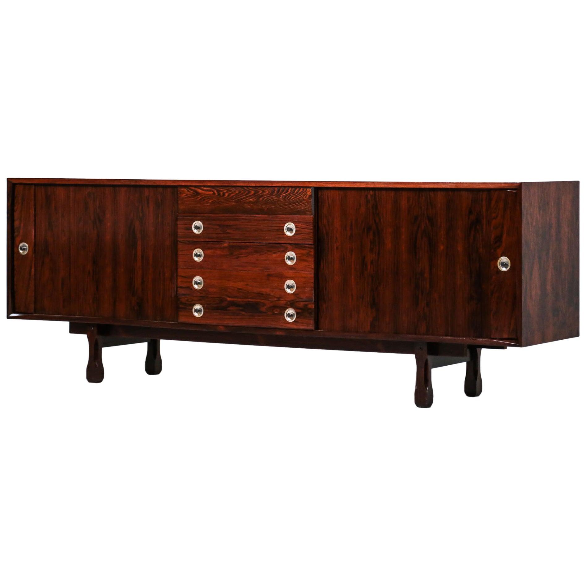 Italian Rosewood Sideboard, 1960s Design in Style of Gianfranco Frattini