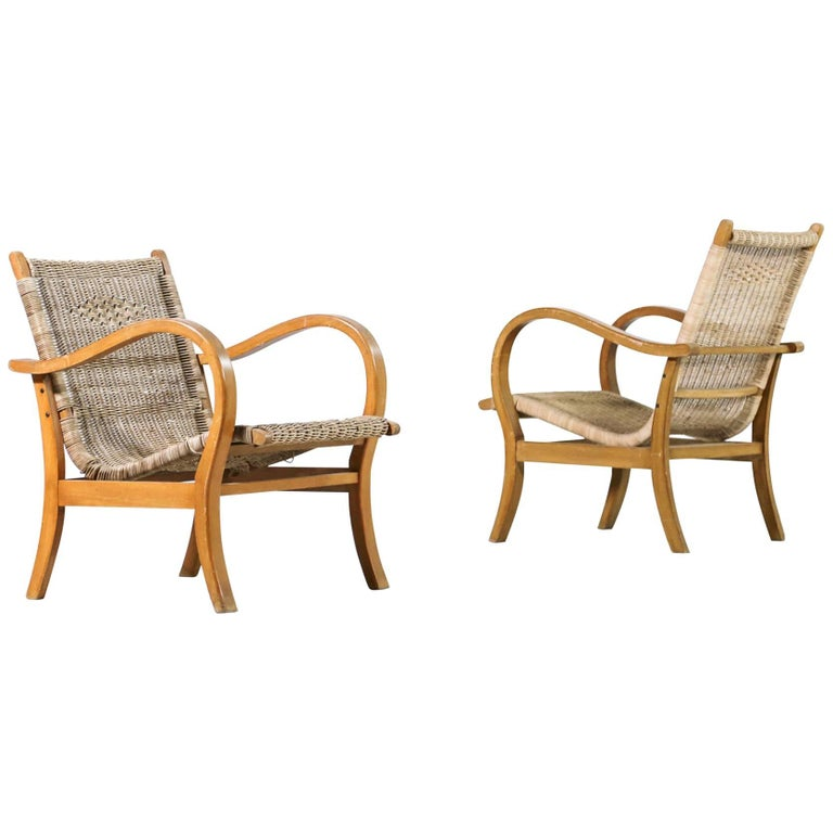 Pair of Lounge Chairs in the Style of Erich Dieckmann, 1960s