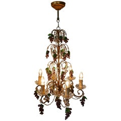 Large Six Branch Chandelier Hung with Amethyst Grapes