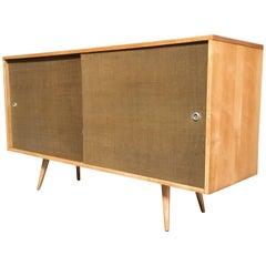Paul McCobb Planner Group Cabinet with Original Grasscloth Doors