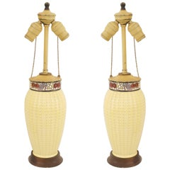 """Pair of American Arts & Crafts Fluted """"Corn"""" Lamps"""