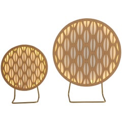 Big Pirulito Brazilian Contemporary Graphic Pattern Wood Table Lamp by Lattooga