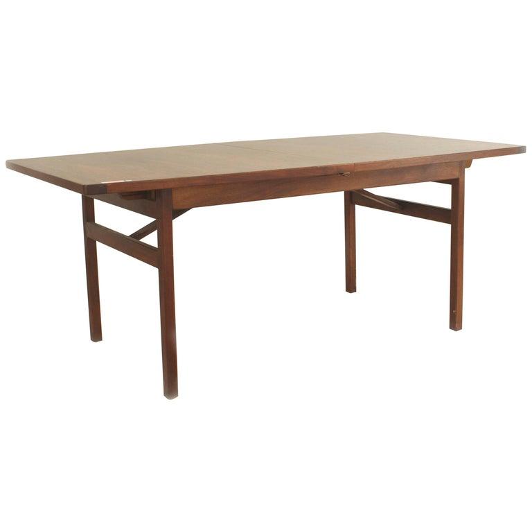 Danish Post-War Design Teak Dining Table with a Bowed Design Top